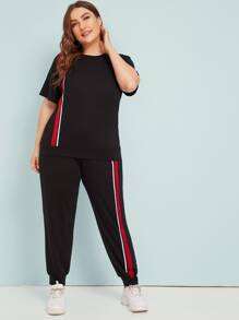 Plus Striped Contrast Tee & Sweatpants Set
