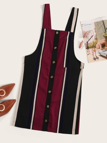 Button Front Striped Pinafore Dress