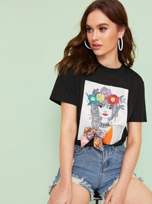 Figure Print Bow Detail Tee