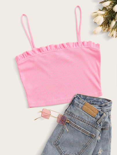 Rib-knit Frill Trim Crop Cami Top