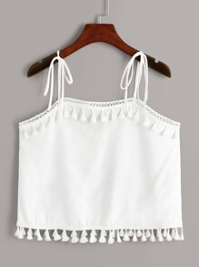 Solid Tassel Trim Knotted Strap Cami Top