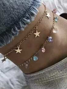 Crystal & Star Detail Layered Anklet 1pc