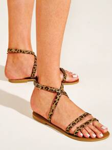 Leopard Cross Strap Flat Sandals