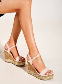 Two Part Studded Espadrille Wedges