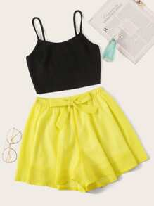 Rib Cami Top With Tie Waist Shorts PJ Set