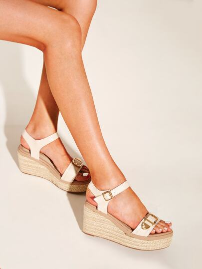 b4628d8db3 Open Toe Buckle Strap Espadrille Wedges