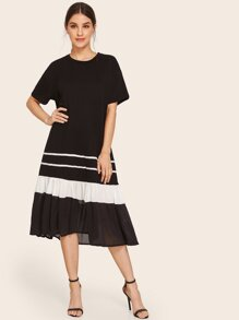 Cut And Sew Ruffle Hem Dress