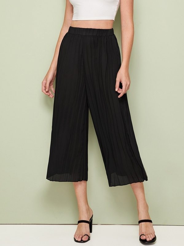 Elastic Waist Wide Leg Pleated Pants by Sheinside