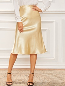 Satin Solid High Waist Sheath Skirt