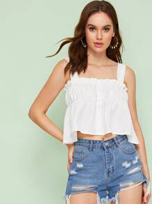 Button Front Frill Trim Tank Top