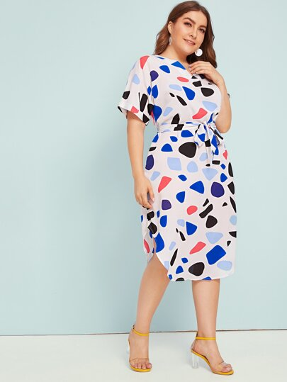 0eb32c0880b Plus Confetti Print Belted Curved Hem Midi Dress