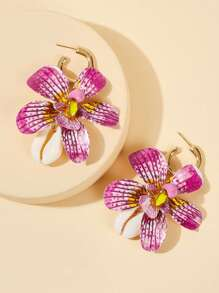 Cuff Ring Flower & Shell Drop Earrings 1pair