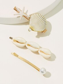 Shell & Faux Pearl Decor Hairpin 3pcs