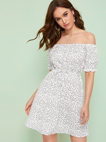 Confetti Polka Dot Print Off Shoulder Dress