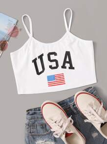 Letter And American Flag Print Cami Top
