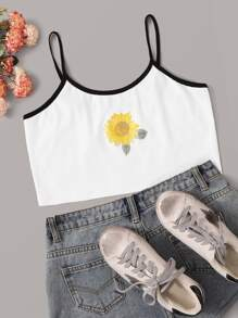 Sunflower Print Contrast Binding Cami Top