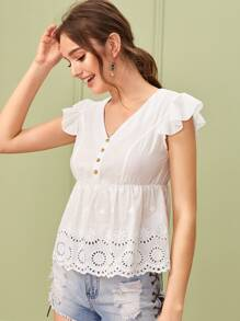 Button Front Eyelet Embroidery Ruffle Trim Blouse