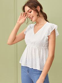 V-neck Swiss Dot Ruffle Hem Blouse