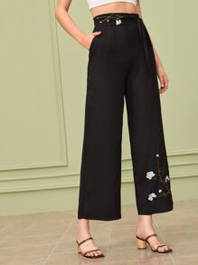 Floral Embroidery Wide Leg Belted Pants