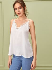 Lace Panel Solid Cami Top