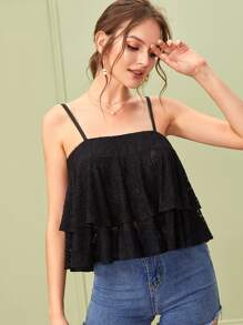 Layered Ruffle Lace Cami Top