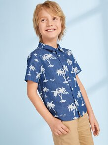 Boys Landscape Print Button Fly Shirt