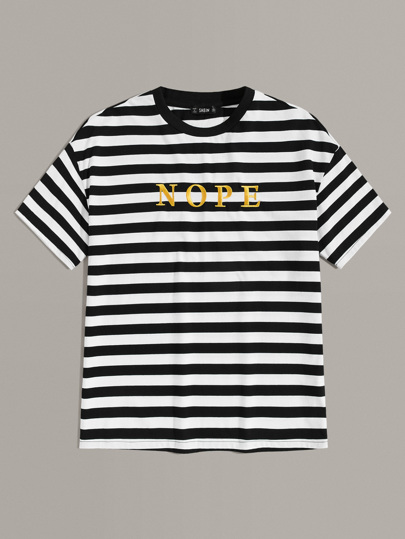 Guys Embroidered Letter Striped Top