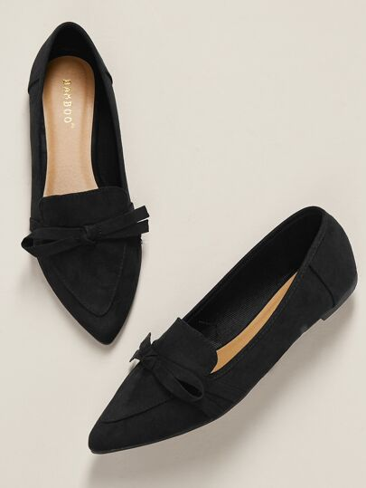 e715ee41c Bow Accent Pointed Toe Ballet Flats