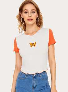 Lettuce Trim Butterfly Embroidered Tee