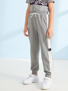 Boys Drawstring Waist Contrast Side Seam Sweatpants