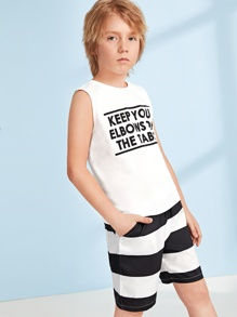 Boys Slogan Print Tank Top & Striped Shorts Set