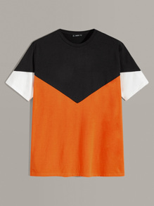 Men Neon Panel Colorblock Tee