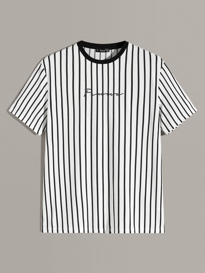 Guys Vertical Striped & Letter Print Tee by Romwe
