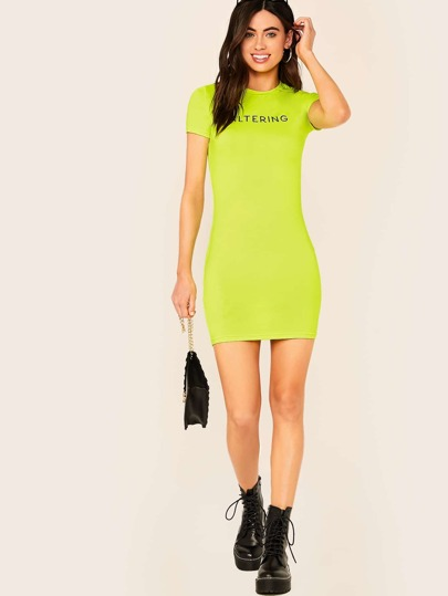 Neon Lime Letter Print Bodycon Dress