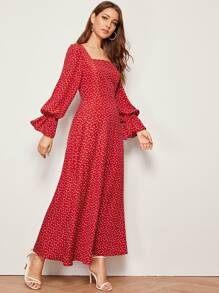Heart Print Flounce Sleeve Square Neck Maxi Dress