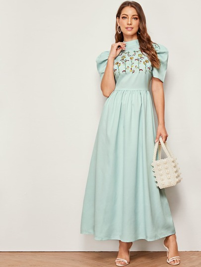 Mock Neck Embroidered Botanical Puff Sleeve Dress