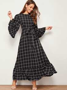 Ruffle Cuff and Hem Self Belted Grid Dress