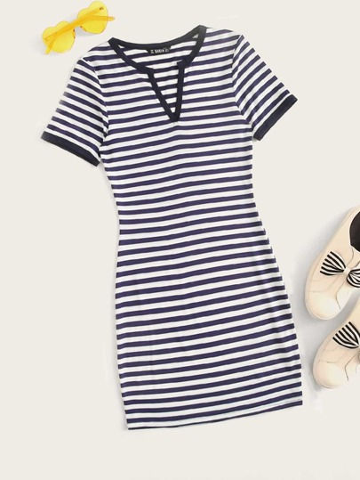 Striped Print V Neck T-shirt Dress