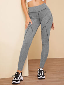 Wide Waistband Contrast Topstitching Leggings