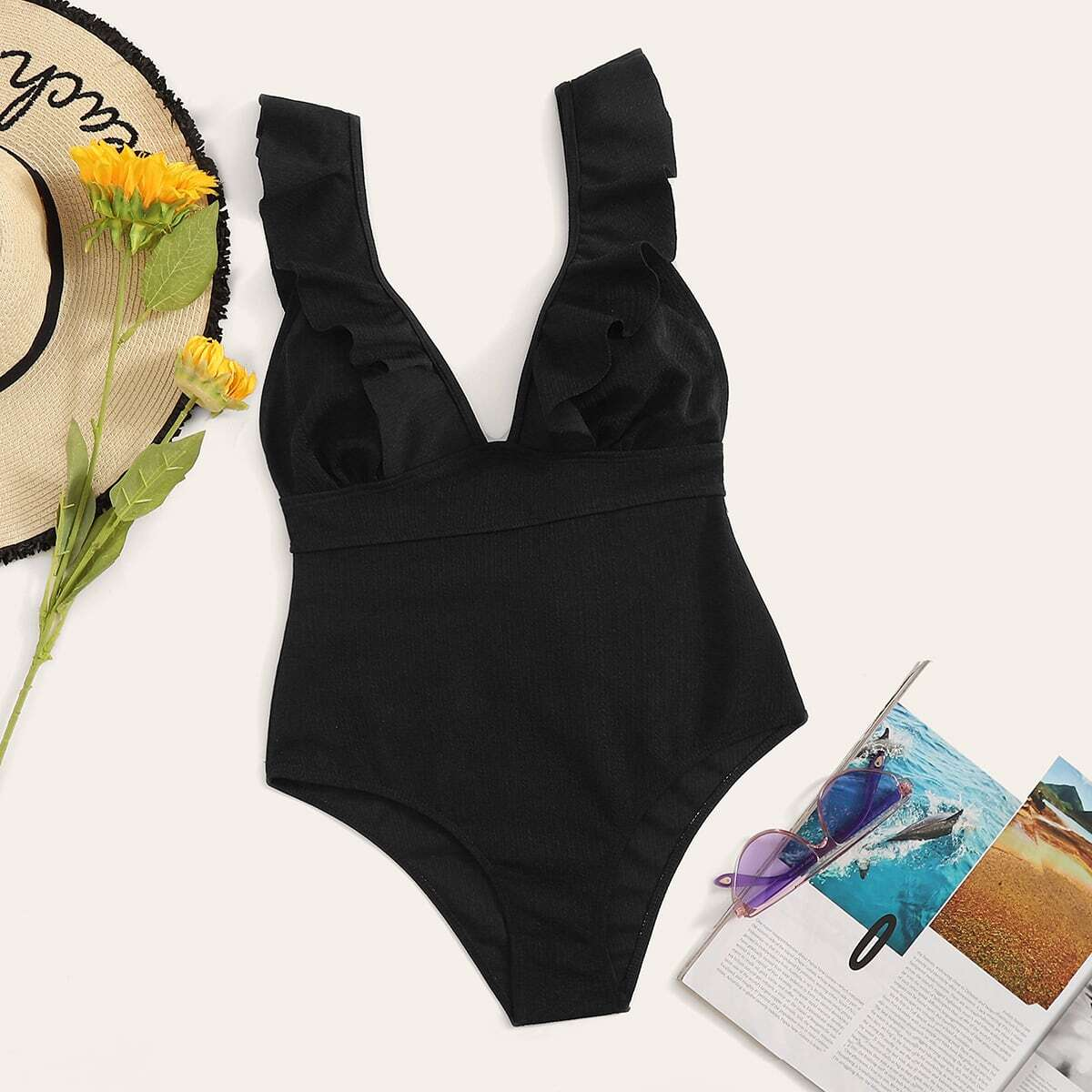 SHEIN coupon: Ruffle Trim Lace Up Back One Piece Swimsuit