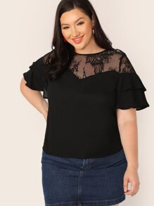 Plus Lace Yoke Layered Flutter Sleeve Top