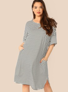Plus Slant Pocket Striped Dolphin Dress
