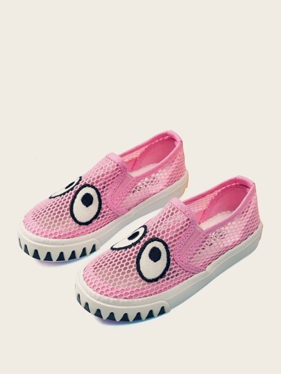 Toddler Girls Eye Patch Decor Mesh Sneakers
