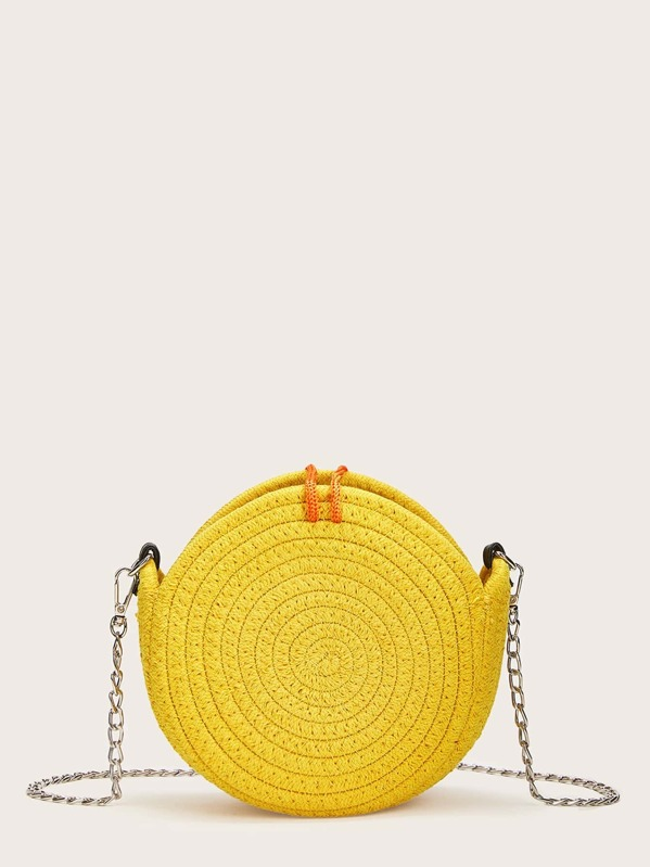5d3bf05d1e Pom Pom Decor Round Shaped Chain Bag | SHEIN