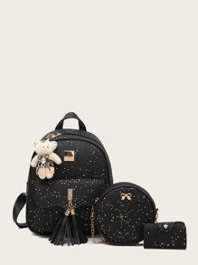 Tassel Decor Glitter Backpack With Card Case 3pcs