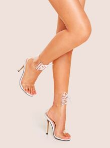 Lace-up Ankle Cuff Clear Stiletto Heels