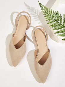 Point Toe Slingback Suede Flats