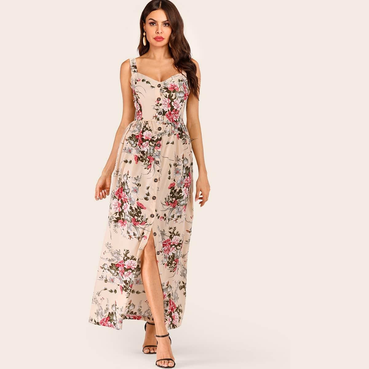Платье на бретелях с цветочным принтом и пуговицами
