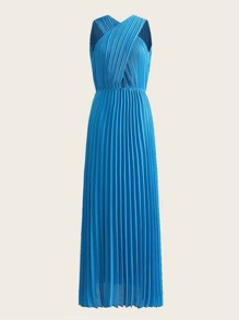 Split Sleeveless Cross Over Pleated Dress
