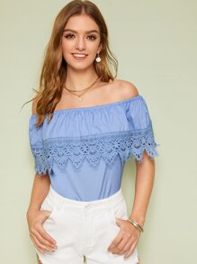 Guipure Lace Panel Ruffle Trim Bardot Top
